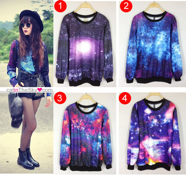 Womens girls galaxy space starry print long sleeve punk tops tee round t shirt