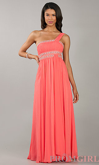 Prom Dresses, Celebrity Dresses, Sexy Evening Gowns - PromGirl: One Shoulder Floor Length Dress