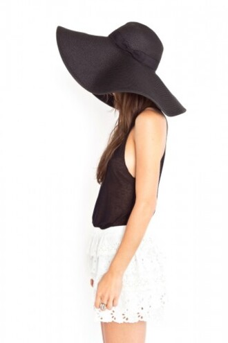 hat black large black hat