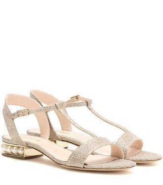 glitter embellished sandals gold shoes