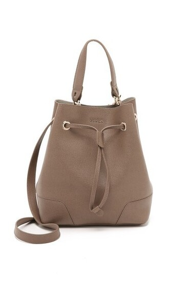 drawstring bag bucket bag taupe
