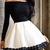 Contrast Long Sleeve Lace Trim Skater Dress -SheIn(Sheinside)