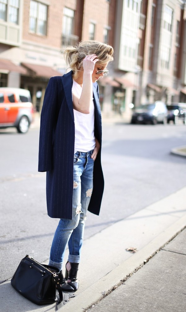 happily grey coat t-shirt bag shoes sunglasses
