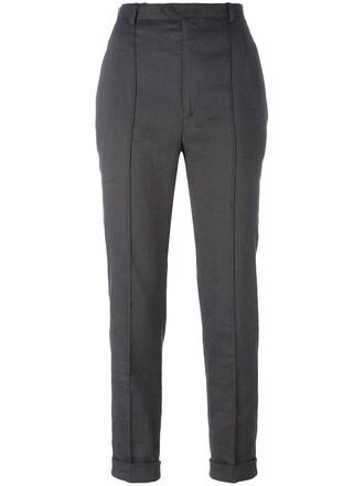 women spandex cotton silk grey pants