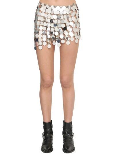 PACO RABANNE Round Sequined Mesh Mini Skirt Silver