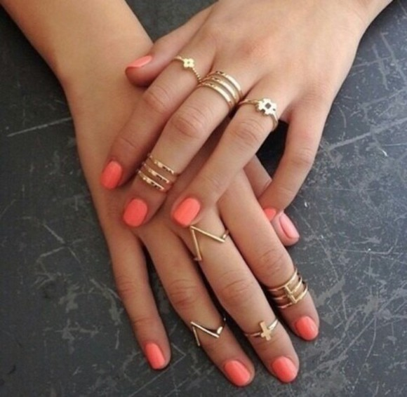 coral summer outfits gold pink jewels nail polish ring tanned skin jewelry jewelry ring nails