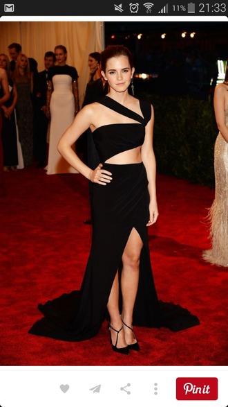 dress elegant open back dresses open leg dress black dress ema watson red carpet dress sexy dress