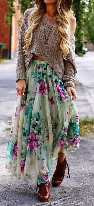 shirt skirt boho romantic maxi maxi skirt fall outfits