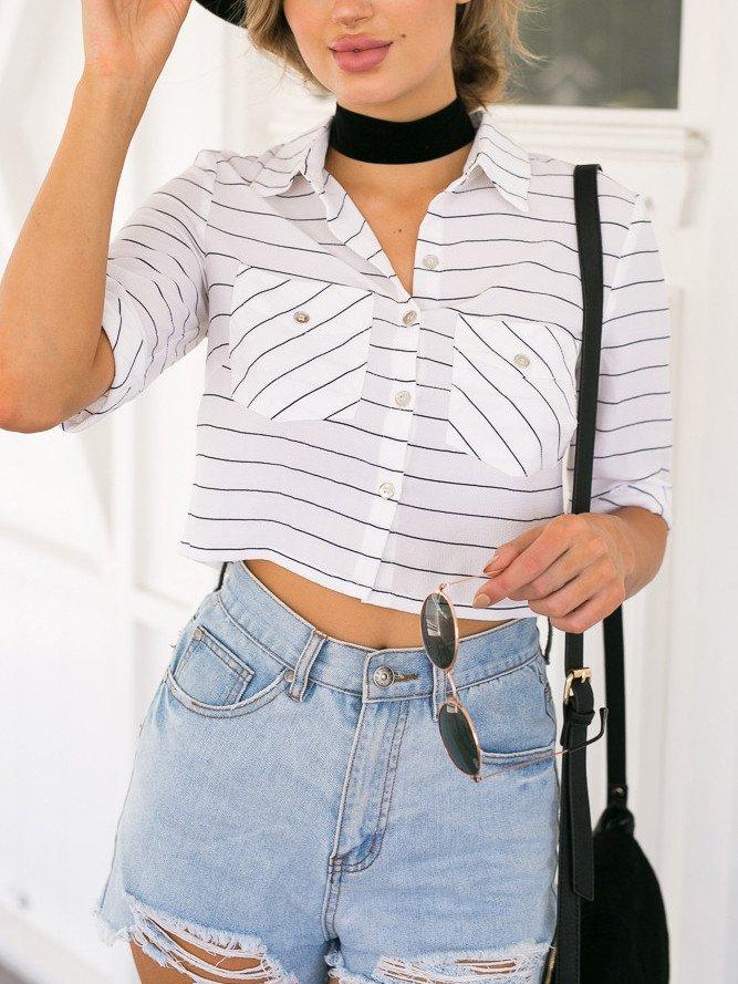 White Stripe Pointed Collar Pocket Cropped Shirt