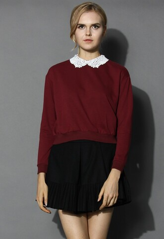 top chicwish simple wine top crochet collar top fashion and chic