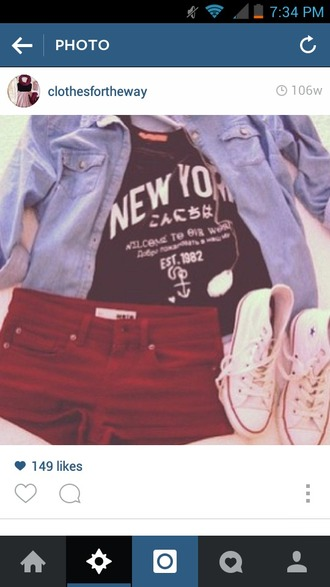 shirt red shorts denim jacket convetse new york shirt black t-shirt