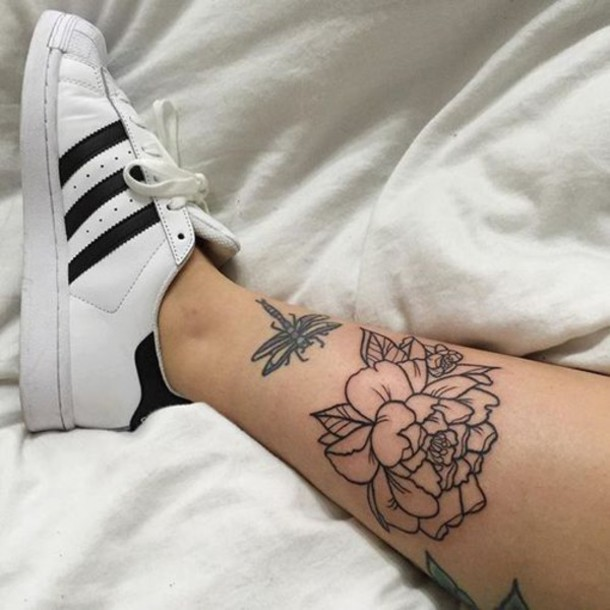 shoes tattoo flowers adidas superstar white black