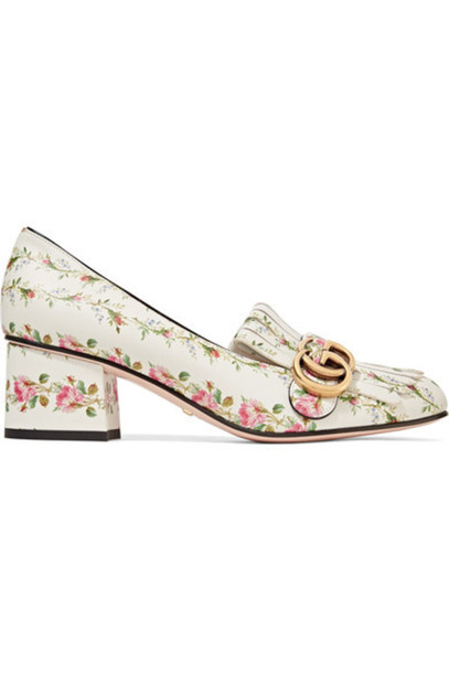 c6cb99847 Gucci - Marmont Fringed Floral-print Loafers - White - Wheretoget