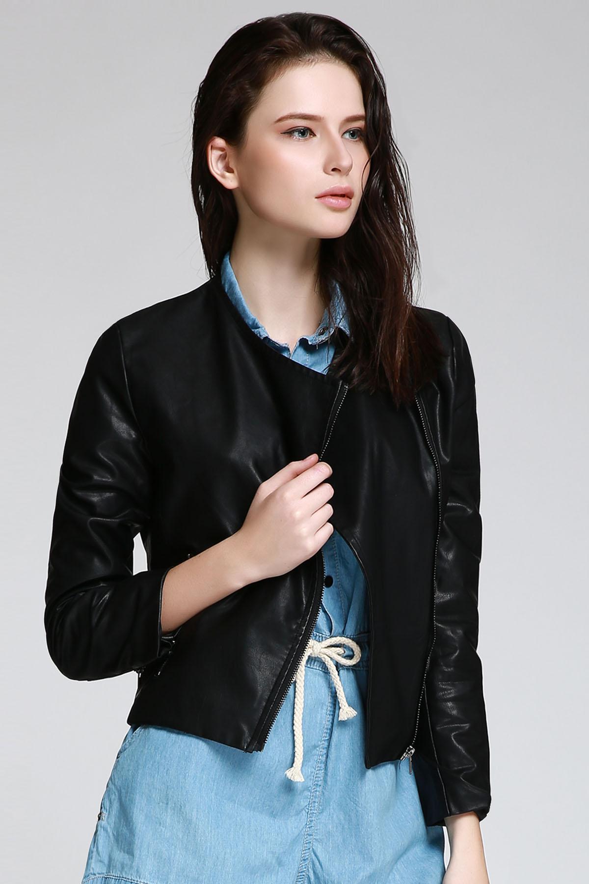 Black PU Leather Turn Down Neck Jacket