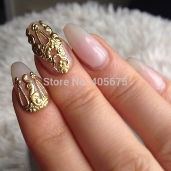 Mns571 mix gold 3d metal nail art beauty stickers jewelry 20pcs for nails decoration