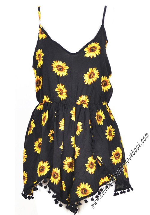 Sunflower Print Playsuits - Jumpsuits & Playsuits - Clothing