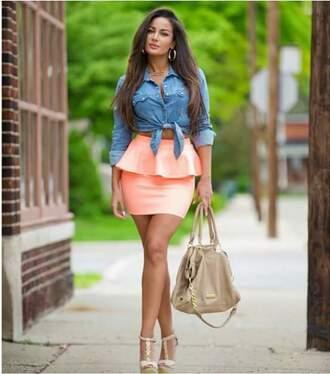 skirt bag shoes shirt jewels make-up