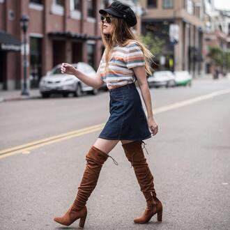 skirt brown boots tumblr mini skirt denim denim skirt t-shirt stripes striped t-shirt boots over the knee fisherman cap