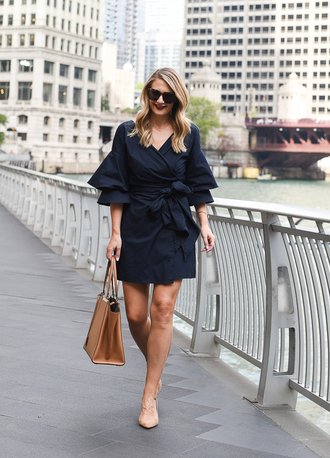 visions of vogue blogger dress shoes bag sunglasses jewels navy dress fall outfits handbag