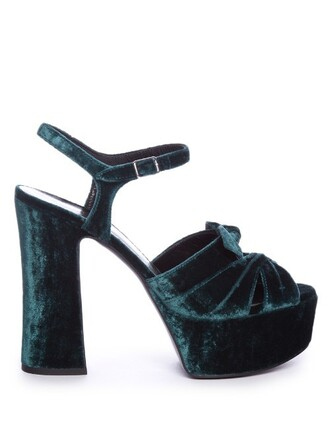 bow candy sandals platform sandals velvet green shoes