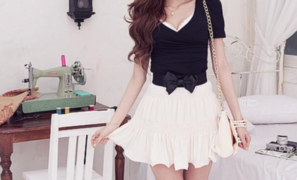 dress black white bow skirt bag cream belt blanc