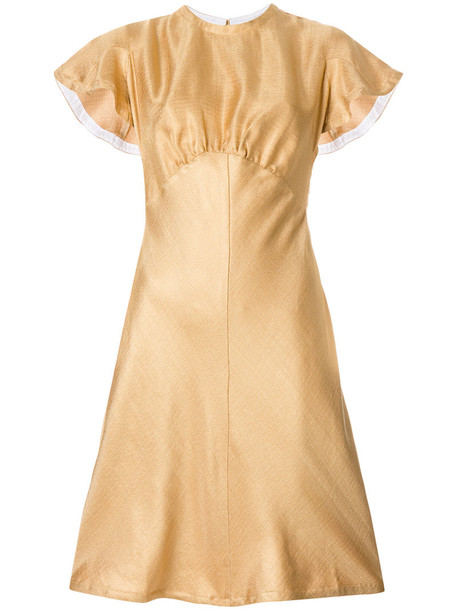 Zimmermann dress short women silk yellow orange
