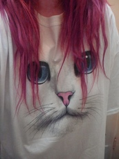 t-shirt,cats,shirt,jacket,sweater,pink hair,clothes,pull,pullover,cats pullover,vintage,white,white sweater