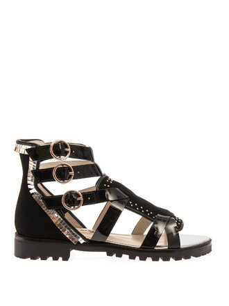 sandals leather gold black shoes