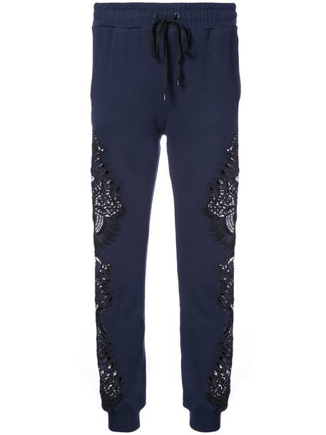 Jonathan Simkhai pants track pants embroidered women cotton blue
