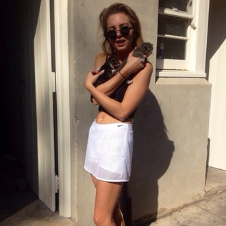 skirt holes white model net puppy nike tumblr cats glasses shorts sportswear