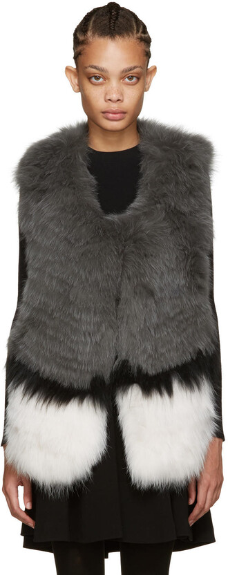 vest fur vest knit fur grey jacket