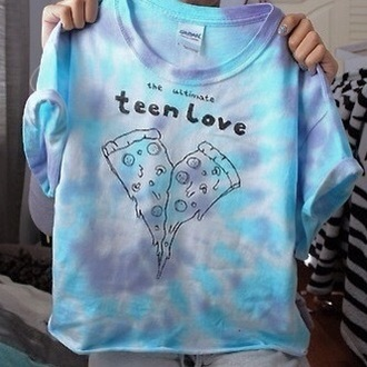 t-shirt blue shirt blue shirt cute i like purple quote on it pizza teenager love