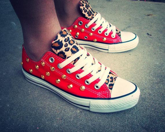 c2ae3bb96304 Leopard Studded Converse by ChaoticMayhem on Etsy