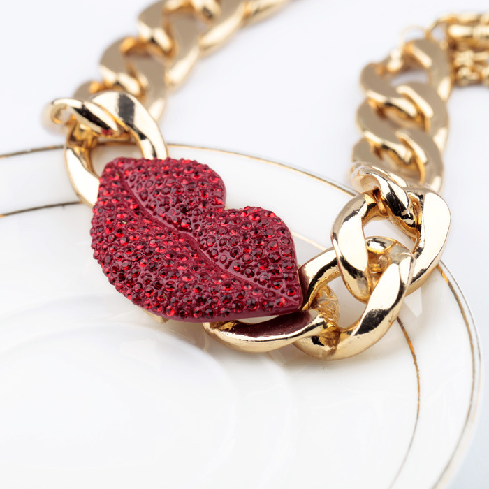 Cute Rhinestone Red Lip Necklace [FTBJ00350] - PersunMall.com