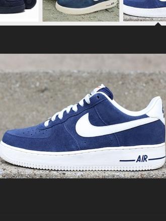 shoes nike nike air nike sneakers nike air force 1 high top sneakers blue sneakers