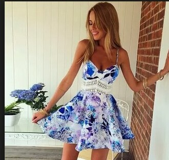 dress blue and white floral dress white crochet dress