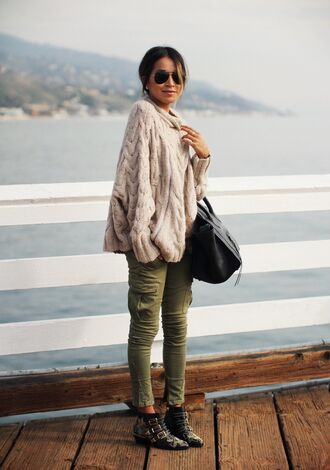 sincerely jules blogger ankle boots studded shoes winter sweater knitted sweater khaki pants aviator sunglasses sweater jeans shoes sunglasses printed boots printed ankle boots nude sweater bag black bag green pants boots susanna boots