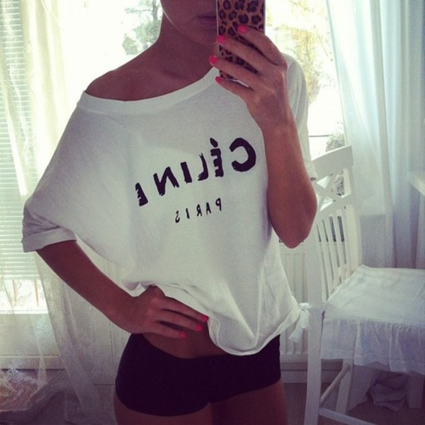 t-shirt celine t-shirt celine paris tee tumblr instagram iphone celine blouse clothes shirt of the shoulder white top sweater