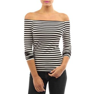 top casual stripes black and white long sleeves sexy off-the-shoulder long sleeve striped bodycon t-shirt for women cool trendy fashion