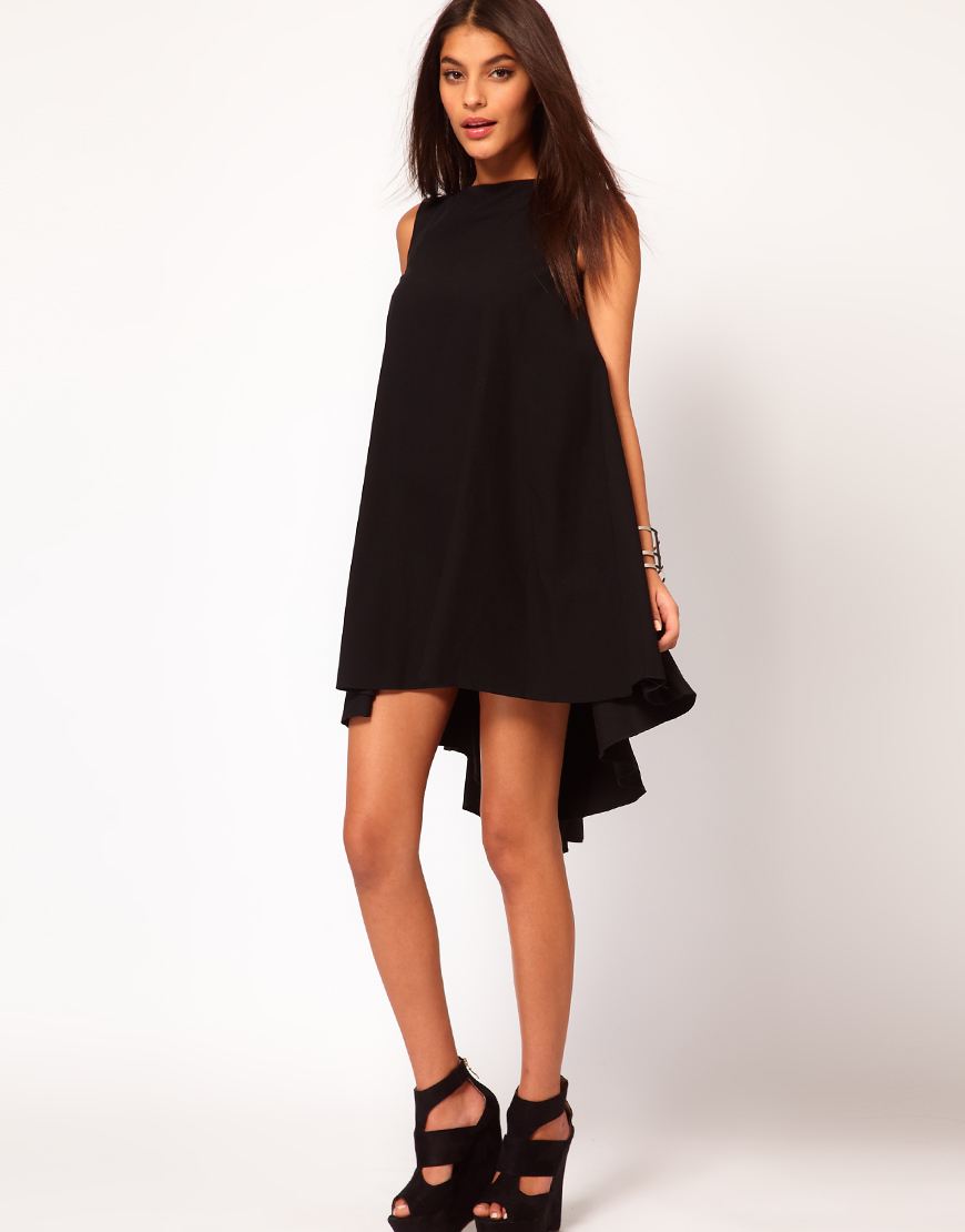 ASOS Swing Dress with Dipped Hem at asos.com