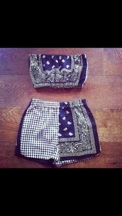 shorts,pied de poul,blue shorts