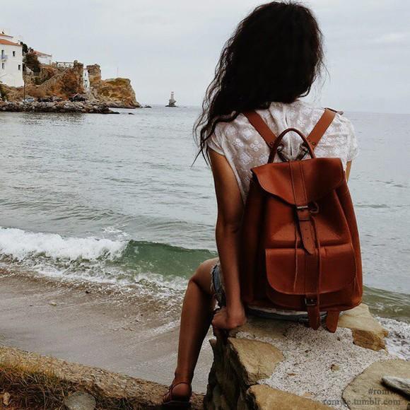 bag backpack adventurer leather backpack
