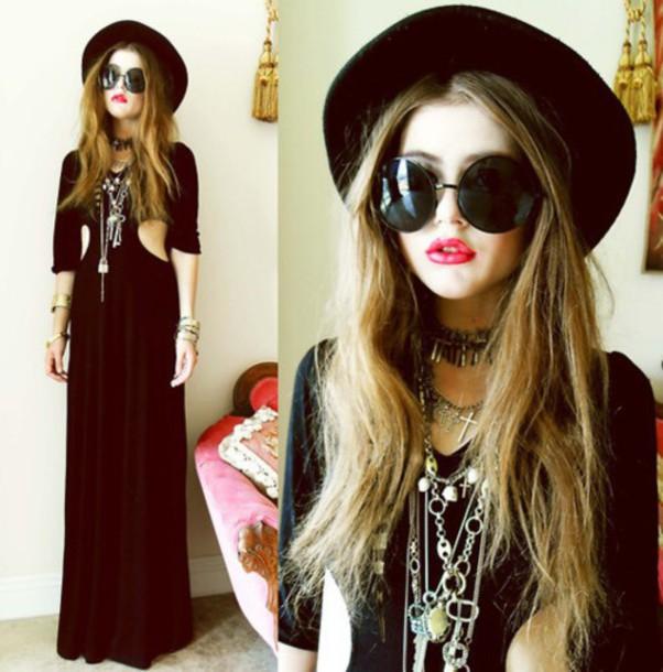 dress goth dress goth black dress grunge grunge dress long dress cut-out dress jewels hat sunglasses