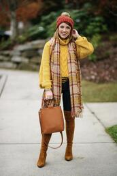 something delightful,blogger,sweater,scarf,jeans,shoes,bag,hat,belt,dress,cardigan,tights,fall outfits,winter outfits,beanie,over the knee,yellow sweater,gucci belt