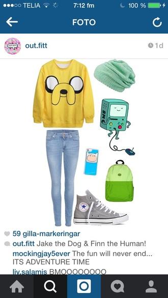 sweater yellow adventure time sweater