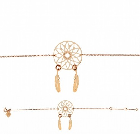 Bracelet chaine Dreamcatcher plaqué or rose - Lili Shopping