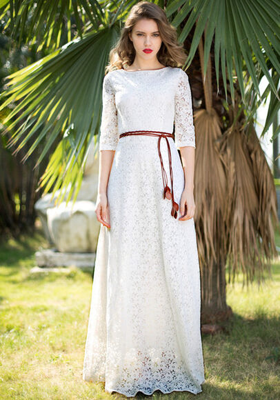 dress white lace crochet wedding clothes casual maxi long beach quarter sleeve hippie gypsy vintage long sleeves