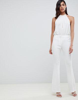 ASOS DESIGN slim kick flare trouser in ivory at asos.com