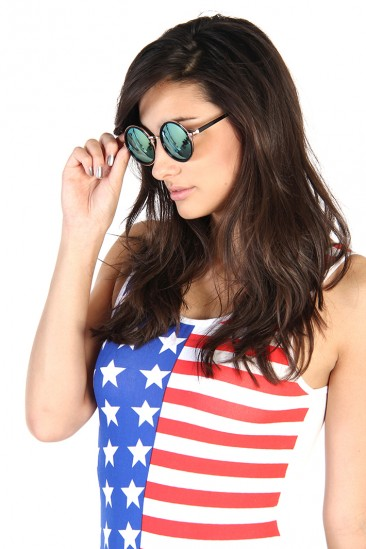 LoveMelrose.com From Harry & Molly | Round Mirror Sunglasses - Blue
