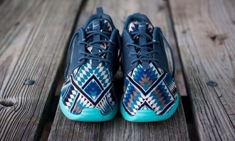 shoes tribal nike roshe's nike nike running shoes nike roshes with blue aztec pattern